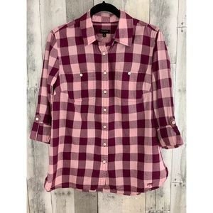 Talbots Berry Plaid Top - Small